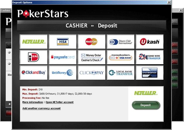 Как сделать депозит на ПокерСтарс.